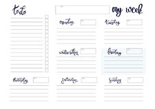 Weekly planner blank template. Weekly planner blank to do template bullet journal Stock Photography