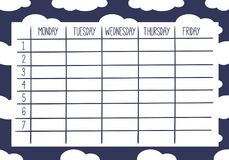 Weekly Planner. Cute Calendar Weekly Planner Template. Cloud Theme Illustration. Organizer and Schedule Royalty Free Stock Photography