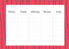 Weekly Planner. Cute Calendar Weekly Planner Template.  Organizer and Schedule Royalty Free Stock Photo