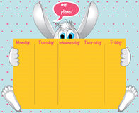 Weekly Planner. Cute Calendar Weekly Planner Template with Vector Character Bunny  Illustration. Organizer and Schedule Stock Photography