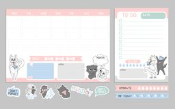 Weekly planner cute design with cats. To-do list with cats template royalty free illustration