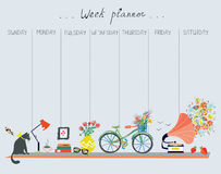 Weekly planner with cute design. Home objects, cat, bicycle, flowers, music Stock Image