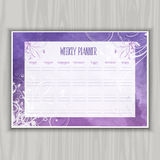 Weekly planner design. Weekly planner with floral watercolor design Royalty Free Stock Photos