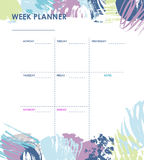 Weekly planner design. Weekly planner with grunge brush design, creative planner page Stock Photos