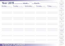 Weekly planner english. 2015 Weekly planner or scheduler with a 2015 calendar. Size A-3. You can put day and week numbers and month names at your own Stock Photo