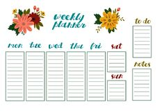 Weekly Planner with Flowers, Stationery Organizer for Daily Plans and Schedules. Weekly Planner with Flowers, Stationery Organizer for Daily Plans. Weekly Royalty Free Stock Photo