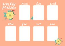 Weekly Planner with Flowers, Stationery Organizer for Daily Plans. Weekly Planner Vector Template. Organizer for Daily Plans and Schedules Stock Image