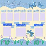 Weekly planner for girl with flowers and butterflies. Stationery organizer for the girl`s daily plans. Floral vector weekly scheduler template, graphic Stock Photo