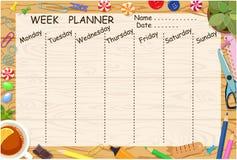 Weekly planner of horizontal format. Desktop. Vector illustration royalty free illustration