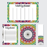 Weekly and daily planner with mandala pattern Stock Images