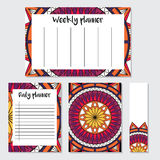 Weekly and daily planner with mandala pattern Royalty Free Stock Image