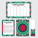 Weekly and daily planner with mandala pattern Royalty Free Stock Photos
