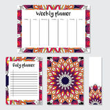 Weekly and daily planner with mandala pattern Royalty Free Stock Images