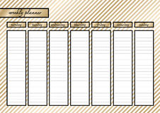 Weekly planner metallic  gold Stock Photography