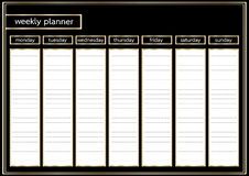 Weekly planner metallic gold and black horizontal Stock Image