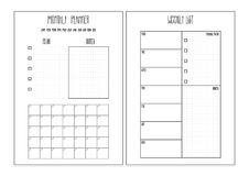 Weekly planner, monthly planner printable pages. Vector organizer template.  Royalty Free Stock Photos