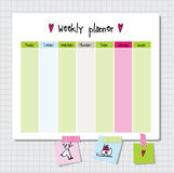 Weekly planner. Note paper, Notes, to do list. Organiser planner Stock Images