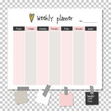 Weekly planner. Note paper. Weekly planner. Note paper, Notes, to do list. Organiser planner template. Note paper. New year and Christmas time Stock Image