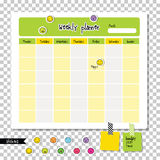Weekly planner. Note paper, Notes, to do list. Stock Image