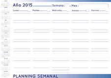 Weekly planner spanish. 2015 Weekly planner. Spanish calendar for year 2015. Week starts on Monday Stock Photography