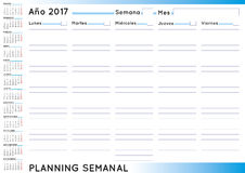 Weekly planner 2017 spanish. 2017 Weekly planner. Spanish calendar for year 2017. Week starts on Monday Royalty Free Stock Photo