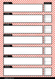 Weekly planner stripe red pink background Stock Photo