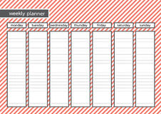 Weekly planner stripe red pink color Stock Images