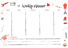 Weekly and Daily Planner Template for creative hand made activity. Organizer with To Do List. Vector schedule in Trendy. Scandinavian Weekly and Daily Planner Stock Images