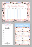 Weekly planner template. Organizer and schedule with place for notes and to do list. Schedule with bright cute background. Vector illustration Royalty Free Stock Photography