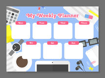 Weekly planner template. Stock Images