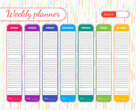 Weekly Planner Template. Vector Stock Image