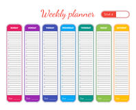 Weekly Planner Template. Vector Royalty Free Stock Photography