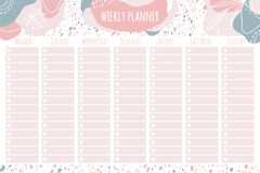 Free Weekly Planner. Templates For Notes, To Do And Buy Lists. Organizer, Planner, Schedule For Your Design. Abstract Vector Stock Photography - 179994082