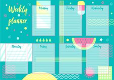 Weekly planner. Vector illustration of Weekly planner with abstract background. For print notebooks, format A5. Cute page for notes. Daily planner for companies Vector Illustration