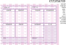 Weekly planner on a violet striped background with hearts. And numerals, names of months, days of the week Royalty Free Stock Image