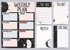 Weekly and Daily Planner. Weekly and Daily Planner Template. Organizer and Schedule with Notes and To Do List. Vector illustration Royalty Free Stock Photography