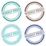 Weekly prizes badge isolated on white background. Flat style round label with text. Circular emblem vector illustration Stock Photos