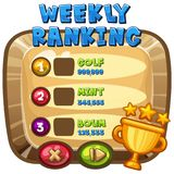 Weekly ranking template on computer game Royalty Free Stock Images