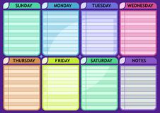 Weekly schedule blank Routine planner. Vector template Royalty Free Stock Images