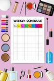 Weekly schedule for cosmetic services concept. Vertically. Stock Image