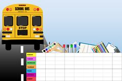 Weekly schedule for school. With education equipment and school bus Stock Images