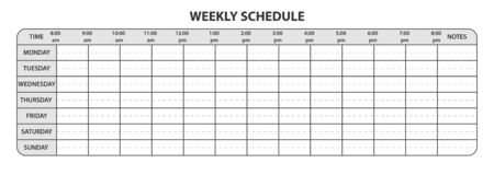Weekly schedule with working hours and extra space for notes stock illustration