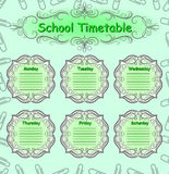 Weekly school timetable. Schedule. Royalty Free Stock Images