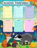 Weekly school timetable subject 1 Royalty Free Stock Image
