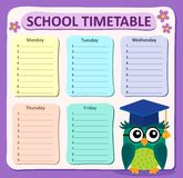 Weekly school timetable subject 4 Stock Photo