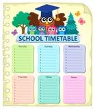 Weekly school timetable subject 7 Stock Image