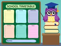 Weekly school timetable subject  Stock Images