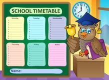 Weekly school timetable topic 9 Stock Photo