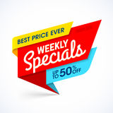 Weekly Specials sale banner. Special offer, best price ever Stock Image