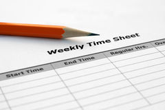 Weekly time sheet. Close up of weekly time sheet Royalty Free Stock Photography